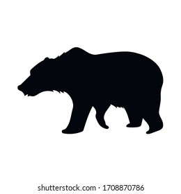 Brown bear silhouette, wild animal, drawing, vector illustration