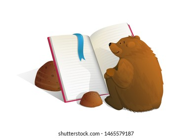 Brown bear sitting reading book education cartoon.Smart and cute bear cub studying sitting in front of open empty book and reading. Vector watercolor style cartoon.