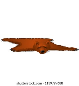 Brown bear skin isolated on white background. Vector cartoon close-up illustration.
