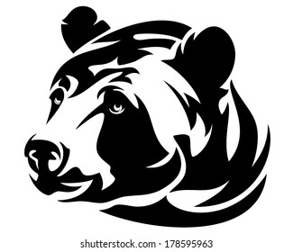 brown bear (ursus arctos) head black and white vector design
