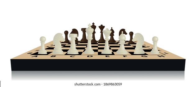 Brown and beige chess game pieces, figures on chess board. Logical tactical turn-based game, chess tournament, sport game, hobby and interests, highly intellectual occupation. Vector illustration.