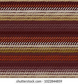 Brown and beige rug woven striped fabric seamless pattern, vector
