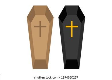 Brown and black casket.