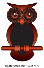 brown and black funny wise owl with big bright eyes