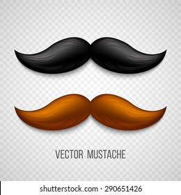 Brown, black  isolated mustaches set. Vector illustration EPS 10