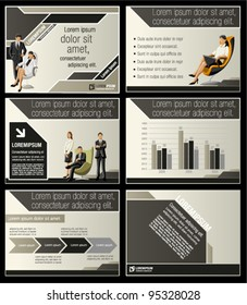 Brown and black template for advertising brochure with business people