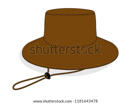 brown blank bucket hat template wide stock vector royalty free