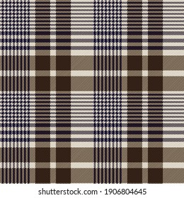 Brown and blue glen check plaid. Houndstooth twill pattern design. Textile fabric swatch template.