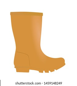 Brown boot wellie. vector illustration
