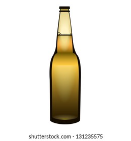 Brown bottle of beer on a white background
