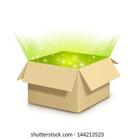 Brown box with something shiny inside.Fully transparent. Any background can be used.