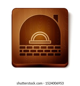 Brown Brick stove icon isolated on white background. Brick fireplace, masonry stove, stone oven icon.Wooden square button. Vector Illustration