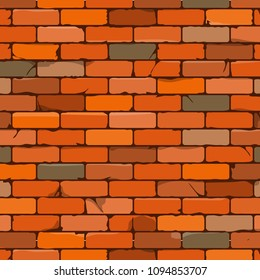 Brown brick wall background in cartoon style. Vector illustration