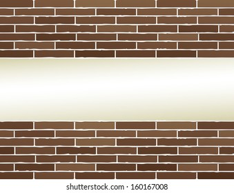 brown brick wall background with light place for text