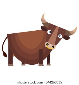 Brown bull with large horns. Vector illustration isolated on white background.