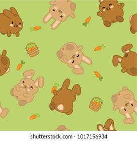 Brown bunnies, carrots and basket on green background (seamless vector pattern)