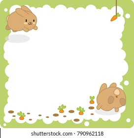 Brown bunnies jumping to carrots, bubble in middle blank for own text (cartoon template)
