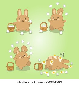 Brown bunny juggling with eggs until they smash on the floor (four kawaii vector graphics)