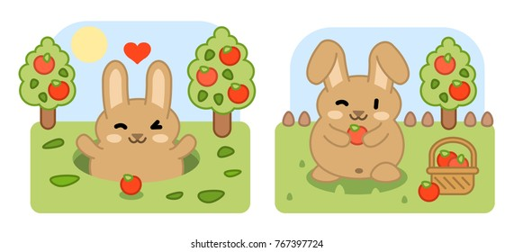Brown bunny looking out of rabbit hole in apple tree garden, harvesting apples (two kawaii graphics)
