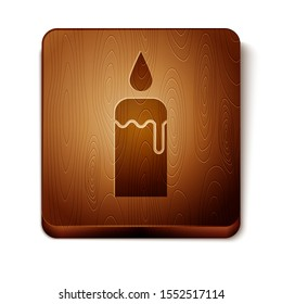 Brown Burning candle in candlestick icon isolated on white background. Cylindrical candle stick with burning flame. Wooden square button. Vector Illustration