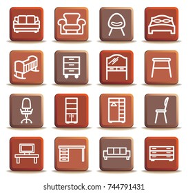 Brown buttons with furniture icons. Vector illustration