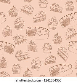 brown cakes cute food abstract seamless vector pattern