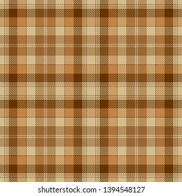 Brown, Camel Beige  and  White  Tartan  Plaid  Seamless Pattern Background. Flannel  Shirt Tartan Patterns. Trendy Tiles Vector Illustration for Wallpapers.