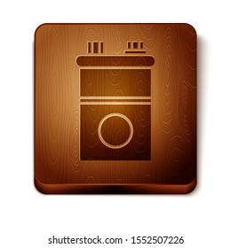 Brown Car battery icon isolated on white background. Accumulator battery energy power and electricity accumulator battery. Wooden square button. Vector Illustration