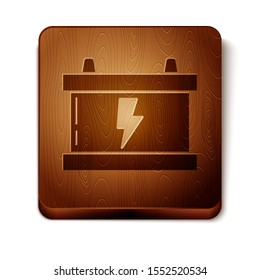 Brown Car battery icon isolated on white background. Accumulator battery energy power and electricity accumulator battery. Lightning bolt. Wooden square button. Vector Illustration