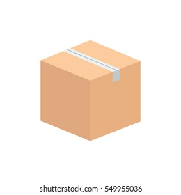 Brown cardboard box icon vector illustration that can be used to symbolize inventory or shipment