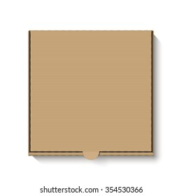 Brown cardboard pizza box for your design. Vector.