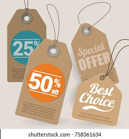 Brown cardboard shopping, sale, discount, special offer and the best choise  tags and labels various design vector template set.