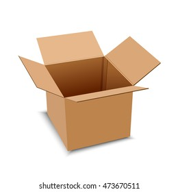 Brown carton delivery packaging box isolated on transparent background vector illustration.