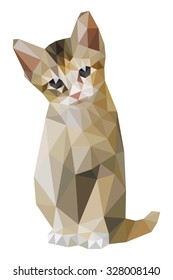 Brown cat sitting low polygon, tan geometric pet icon, yellow kitten crystal art concept, brunette triangular kitty graphic isolated on white background. T-shirt logo animal screen printing polygonal.