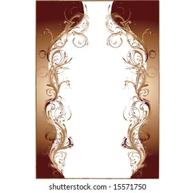 Brown Cello Styled Flowery Frame Vector Illustration with intricate arabesque patterns
