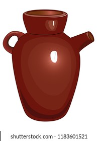 Brown ceramic jug with one handle and ceramic tableware.
