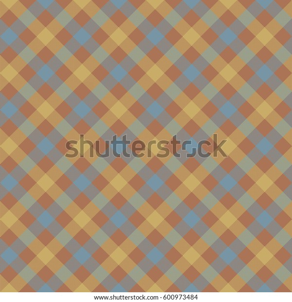 Brown check plaid fabric texture seamless pattern. Vector illustration. EPS 10.