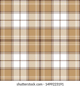 Brown check plaid pattern. Seamless tartan plaid vector background texture in brown and white for flannel shirt, blanket, throw, or other modern textile design. Stitched effect.