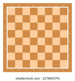 Brown Chess Board Top View With Algebraic Notation Vector Illustration. Chessboard Tile.