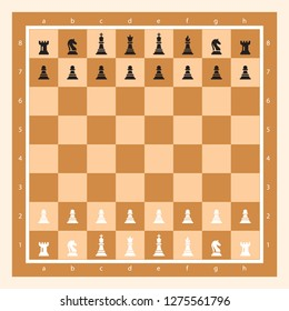 Brown Chessboard With Chess Figurine Algebraic Notation. Chess Game Vector illustration. Chess Figures King, Queen, Bishop, Knight, Rook, Pawn. Chess Board Illustration.