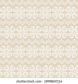 Brown Christmas snowflake fair isle pattern background suitable for fashion textiles, knitwear and graphics