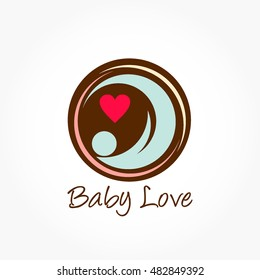 brown circle womb with a blue baby with red love shape logo vector