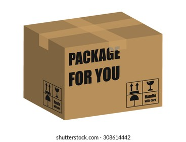 Brown Closed Carton Delivery Packaging Box With Fragile Signs