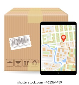 Brown closed carton parcel packaging box with fragile signs and bar code  isolated on white background and gadget with gps map. Vector icon template for shipping parcel tracking order.