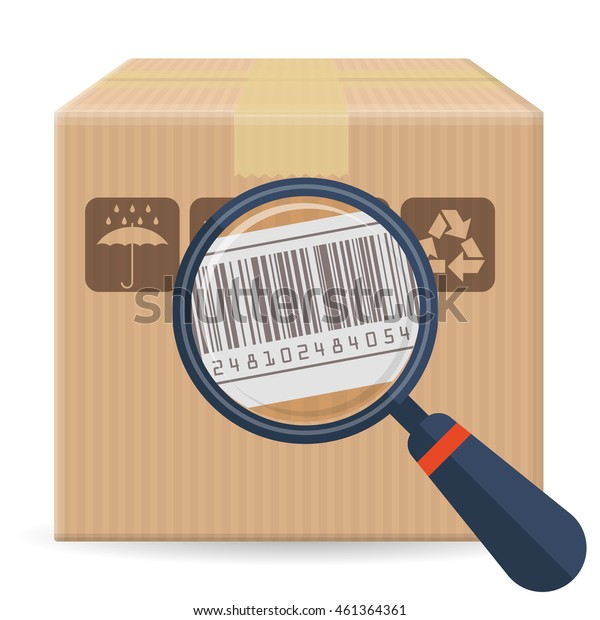 Brown closed carton parcel packaging box with fragile signs and bar code  isolated on white background. Vector icon template for shipping, delivery and postal service.