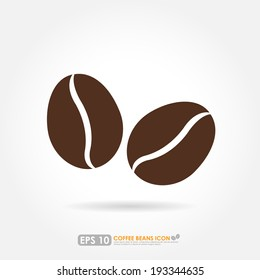 Brown coffee bean icon on white background