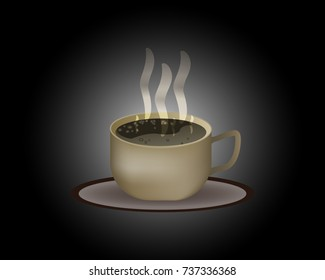 brown coffee Cup with a hot drink on a black background,vector illustration