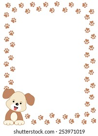 Brown color dog paw print border / frame with a cute dog in left bottom corner