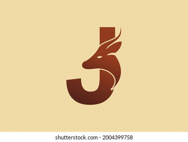 Brown color of J initial letter with deer head design