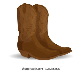 Brown cowboy boots isolated on white.